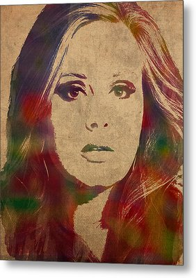 Adele Watercolor Portrait Metal Print by Design Turnpike