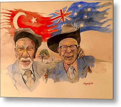 Metal Print featuring the painting Adil Sahin And Len Hall by Ray Agius