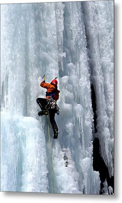 Adirondack Ice Climber  Metal Print by Brendan Reals