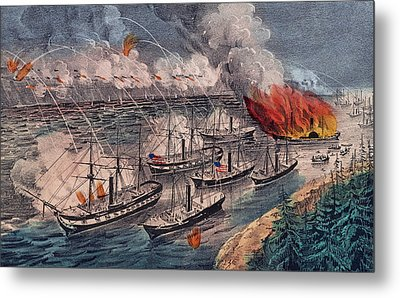 Admiral Farragut's Fleet Engaging The Rebel Batteries At Port Hudson Metal Print