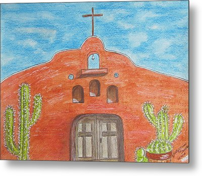 Adobe Church And Cactus Metal Print