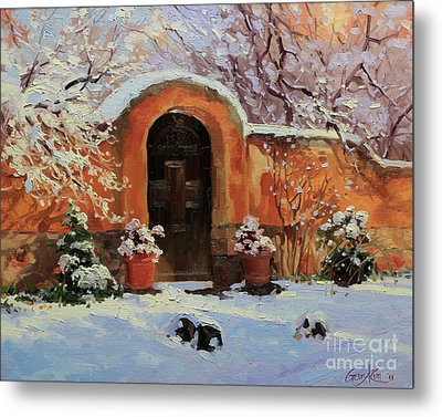 Adobe Wall With Wooden Door In Snow. Metal Print by Gary Kim