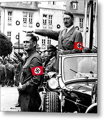Adolf Hitler Giving The Nazi Salute From A Mercedes #3 C. 1934-2015 Metal Print by David Lee Guss