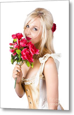 Adorable Florist Woman Smelling Red Flowers Metal Print by Jorgo Photography - Wall Art Gallery