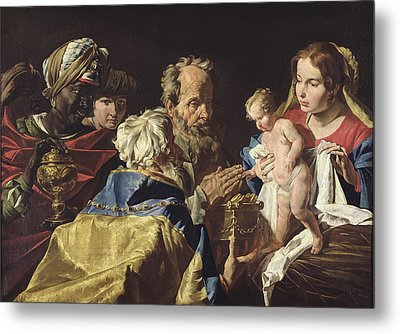 Adoration Of The Magi  Metal Print by Matthias Stomer