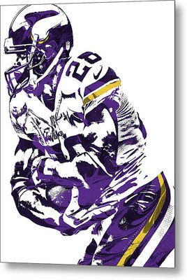 Metal Print featuring the mixed media Adrian Peterson Minnesota Vikings Pixel Art by Joe Hamilton