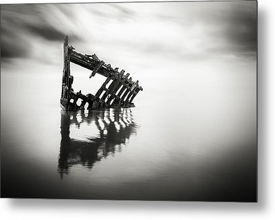 Adrift At Sea In Black And White Metal Print