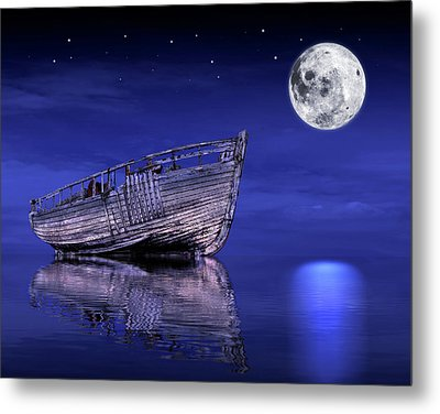Metal Print featuring the photograph Adrift In The Moonlight - Old Fishing Boat by Gill Billington