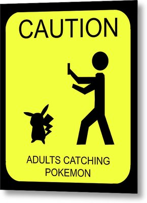 Metal Print featuring the digital art Adults Catching Pokemon 1 by Shane Bechler