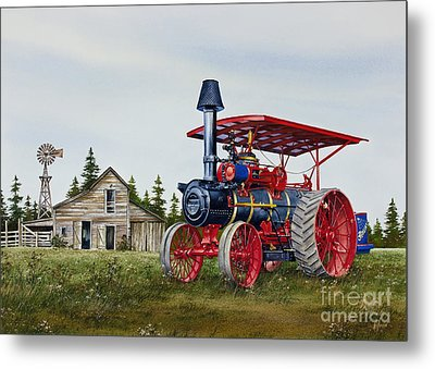 Metal Print featuring the painting Advance Rumely Steam Traction Engine by James Williamson