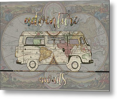 Adventure Awaits World Map Design 4 Metal Print