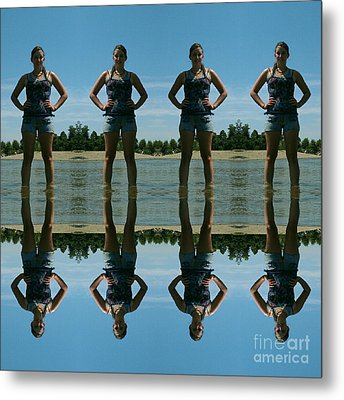 Adventure Girl Twins Reflection Of Thoughts Metal Print