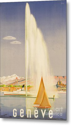 Advertisement For Travel To Geneva Metal Print by Fehr