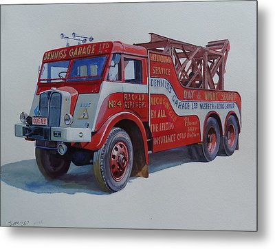 Metal Print featuring the painting Aec Militant Dennis's. by Mike Jeffries