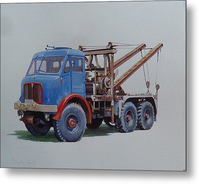 Metal Print featuring the painting Aec Militant Wrecker. by Mike Jeffries