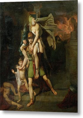 Aeneas Fleeing With His Father Metal Print by MotionAge Designs