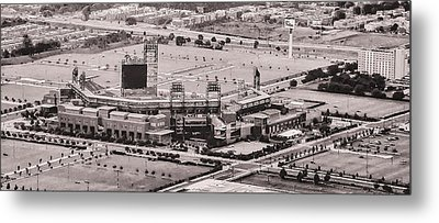 Aerial - Citizens Bank Park In Black And White Metal Print by Bill Cannon
