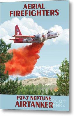 Aerial Firefighters P2v Neptune Metal Print by Airtanker Art