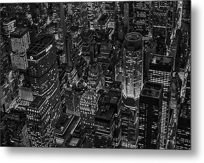 Aerial New York City Skyscrapers Bw Metal Print by Susan Candelario