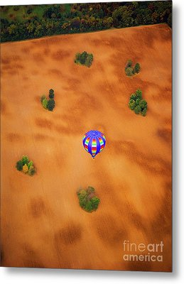 Aerial Of Hot Air Balloon Above Tilled Field Fall Metal Print