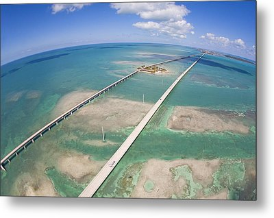 Aerial Of Seven Mile Bridge At Extreme Metal Print by Mike Theiss