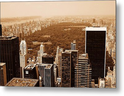 Aerial View Central Park Metal Print by Allan Einhorn
