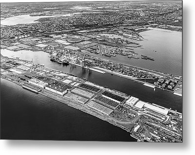 Aerial View Bayonne Container Terminal Bw Metal Print by Susan Candelario
