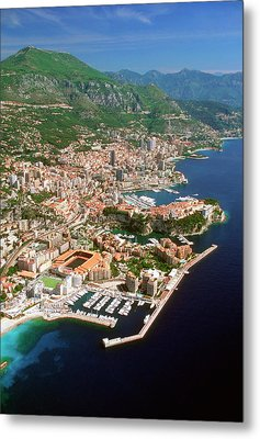 Aerial View Of A City, Monte Carlo, Monaco, France Metal Print by Medioimages/Photodisc