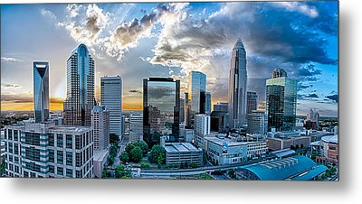 Aerial View Of Charlotte City Skyline At Sunset Metal Print by Alex Grichenko