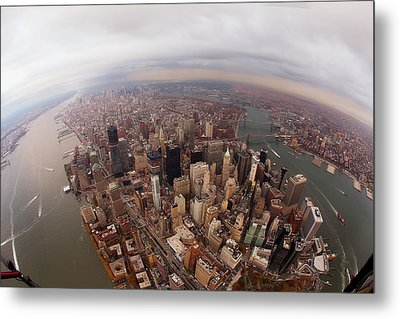 Aerial View Of City Metal Print by Eric Bowers Photo