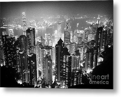 Aerial View Of Hong Kong Island At Night From The Peak Hksar China Metal Print by Joe Fox