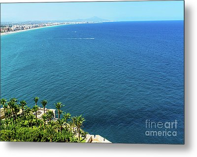 Aerial View Over Mediterranean Sea In Spain With Peniscola City In Sight Metal Print
