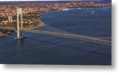 Aerial View Verrazano Bridge And Brooklyn Metal Print
