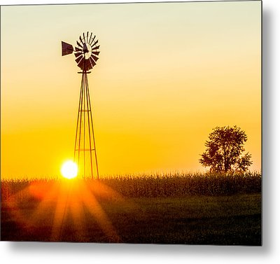 Metal Print featuring the photograph Aermotor Sunset by Chris Bordeleau
