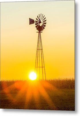 Metal Print featuring the photograph Aermotor Sunset Vertical by Chris Bordeleau