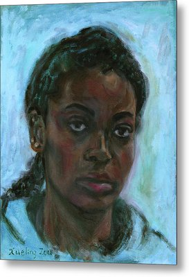 Metal Print featuring the painting African American 15 by Xueling Zou