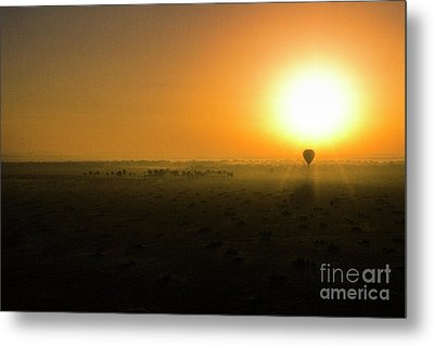 Metal Print featuring the photograph African Balloon Sunrise by Karen Lewis