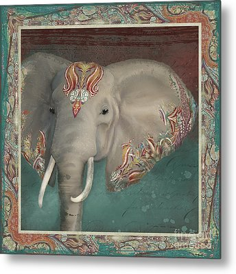 Metal Print featuring the painting African Bull Elephant - Kashmir Paisley Tribal Pattern Safari Home Decor by Audrey Jeanne Roberts