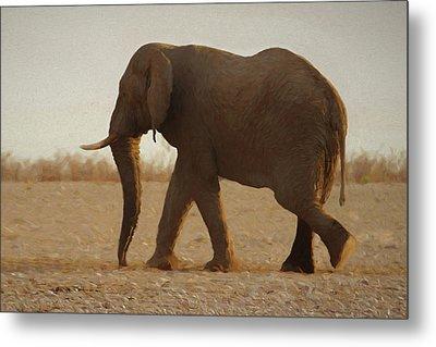 African Elephant Walk Metal Print by Ernie Echols