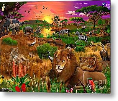 African Evening Metal Print by Gerald Newton