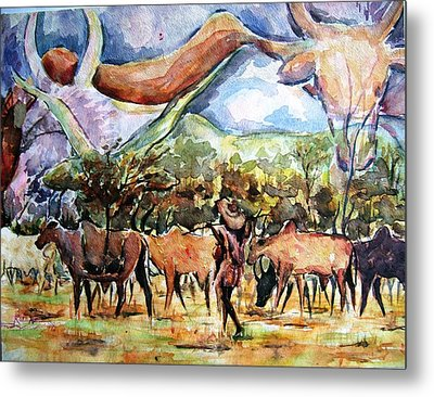 African Herdsmen Metal Print