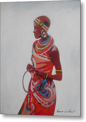 African Lady In Red Metal Print by Patrick Hunt