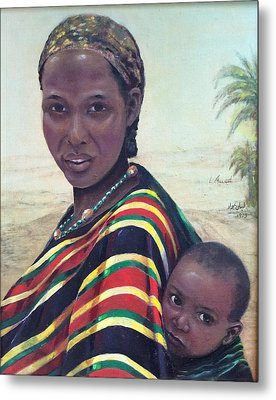 African Mother And Child Metal Print by Laila Awad Jamaleldin