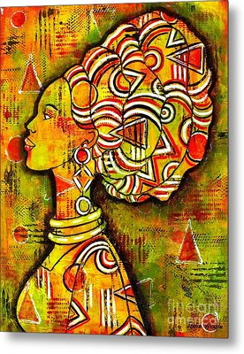 Metal Print featuring the painting African Queen by Julie Hoyle
