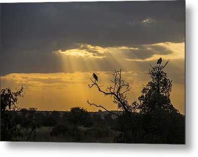 Metal Print featuring the tapestry - textile African Sunset 2 by Kathy Adams Clark