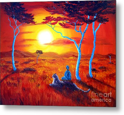 African Sunset Meditation Metal Print by Laura Iverson