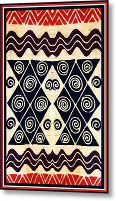African Tribal Textile Design Metal Print