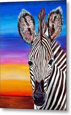 African Zebra Aura Metal Print by Donna Proctor