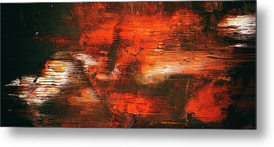 After Midnight - Black Orange And White Contemporary Abstract Art Metal Print