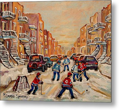 Metal Print featuring the painting After School Hockey Game by Carole Spandau